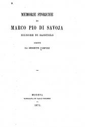 Memorie storiche di Marco Pio di Savoja, signore di Sassuolo
