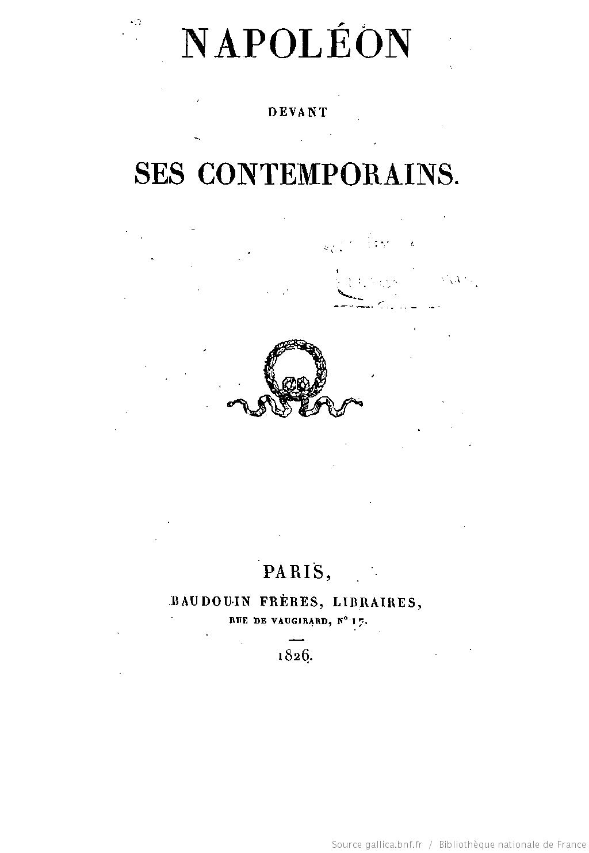 Napoléon devant ses contemporains