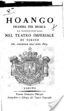 Hoango dramma per musica da rappresentarsi nel Teatro Imperiale di Torino nel Carnovale dell'anno 1807