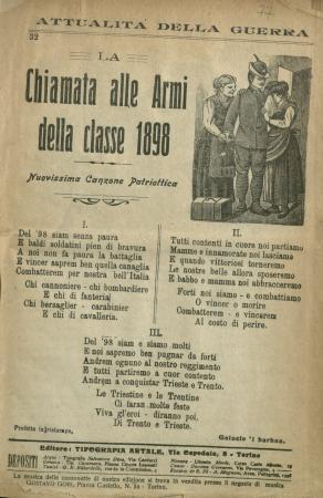 La chiamata alle armi della classe 1898