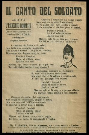Canto del soldato contro l'esercente disonesto