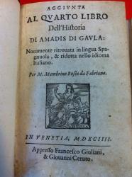 Aggiunta al quarto libro dell'historia di Amadis di Gaula: Nouamente ritrouata in lingua Spagnuola, & ridotta nello idioma italiano. Per M. Mambrino Roseo da Fabriano